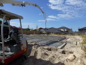 Lower slab concrete pour