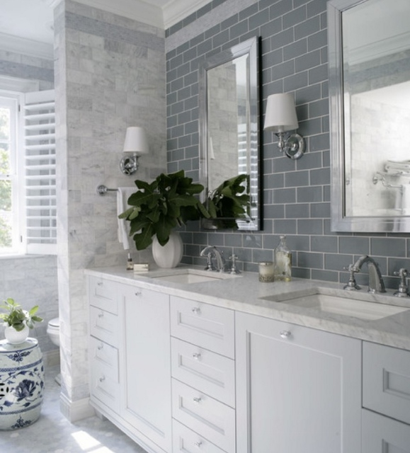 bathroom wall sconces either side of mirror