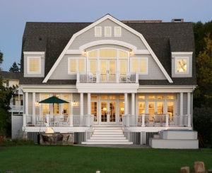 Grey weatherboard Hamptons style house