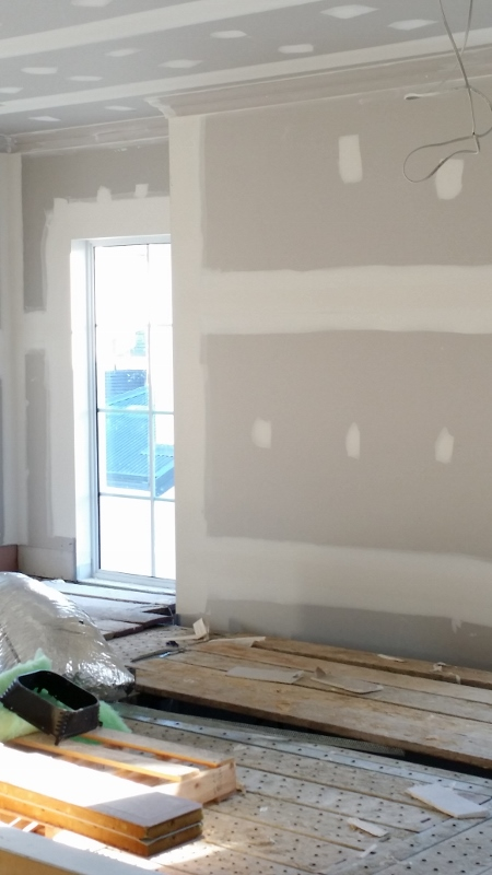 Chimney breast plastering