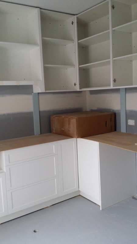 Laundry cabinets corner view